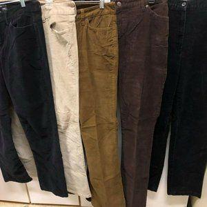 Pants - 5 Pair Designer Cords Size 8 Black Browns -